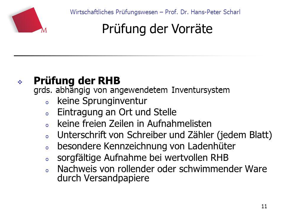 11 Wirtschaftliches Prüfungswesen – Prof. Dr. Hans-Peter Scharl  Prüfung der RHB grds.