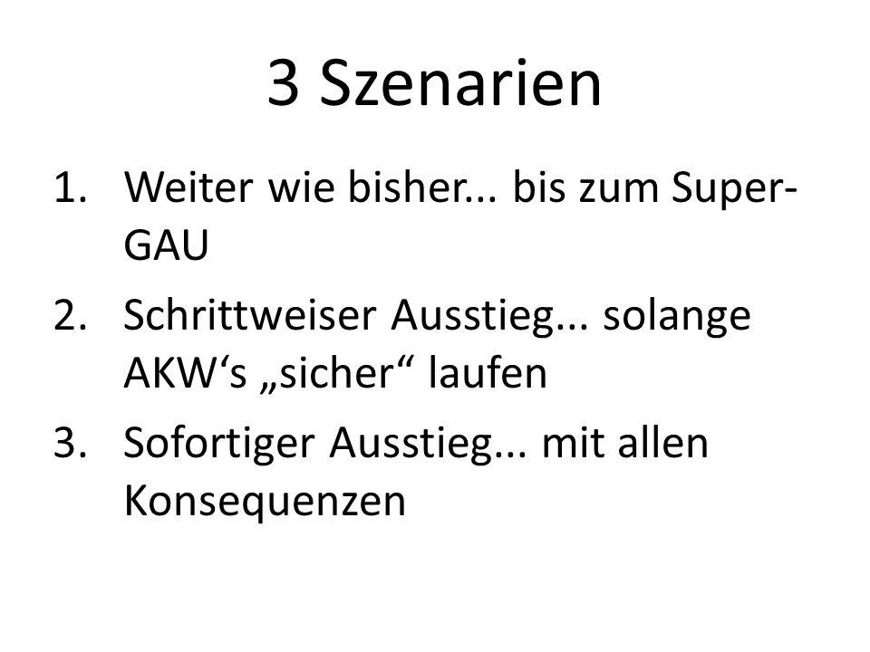 """3 Szenarien 1.Weiter wie bisher... bis zum Super- GAU 2.Schrittweiser Ausstieg... solange AKW's """"sicher"""" laufen 3.Sofortiger Ausstieg... mit allen Kon"""