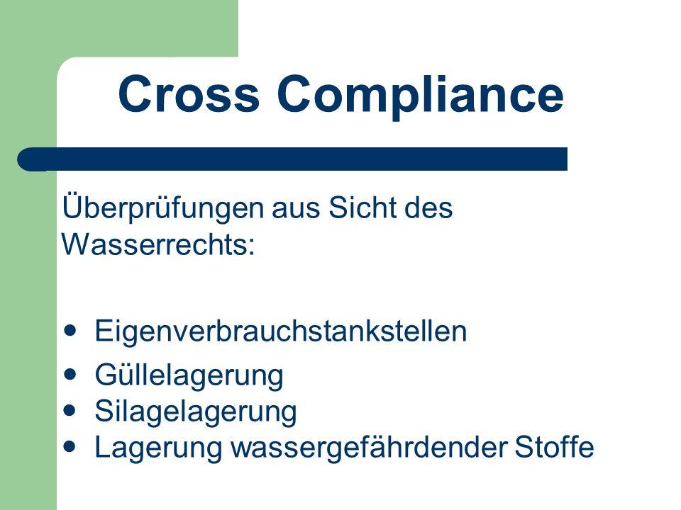 Cross Compliance Überprüfungen aus Sicht des Wasserrechts: Eigenverbrauchstankstellen Güllelagerung Silagelagerung Lagerung wassergefährdender Stoffe