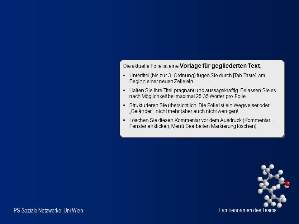PS Soziale Netzwerke, Uni Wien Familiennamen des Teams Die aktuelle Folie ist eine Vorlage für gegliederten Text.