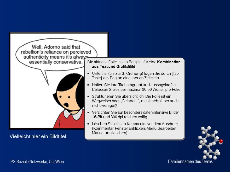 PS Soziale Netzwerke, Uni Wien Familiennamen des Teams Vielleicht hier ein Bildtitel Die aktuelle Folie ist ein Beispiel für eine Kombination aus Text und Grafik/Bild.