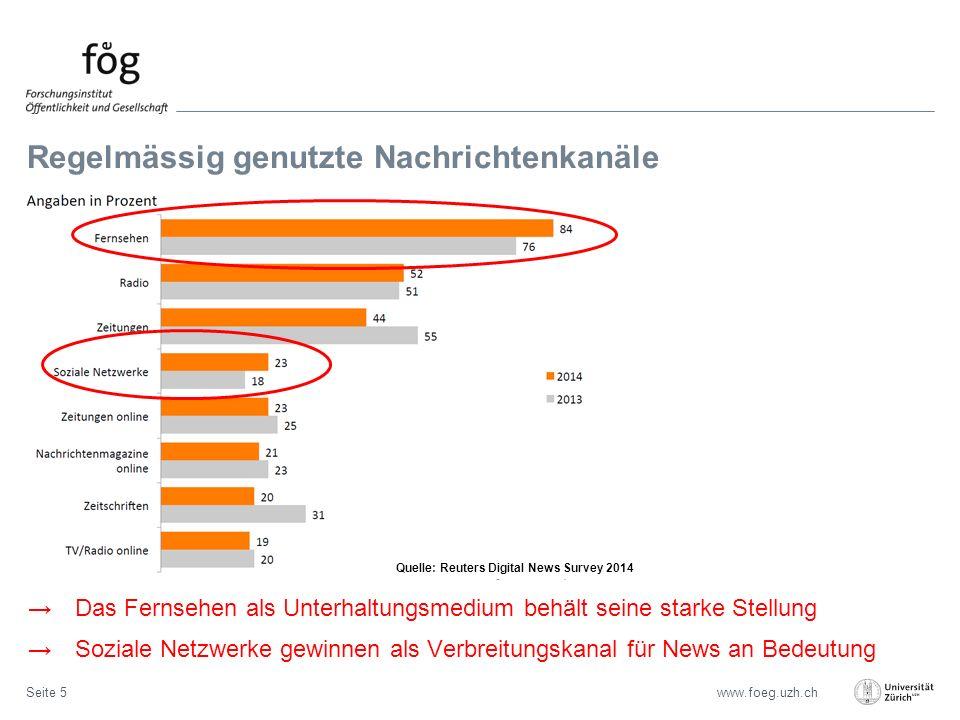 www.foeg.uzh.ch Regelmässig genutzte Nachrichtenkanäle Seite 5 →Das Fernsehen als Unterhaltungsmedium behält seine starke Stellung →Soziale Netzwerke gewinnen als Verbreitungskanal für News an Bedeutung Quelle: Reuters Digital News Survey 2014