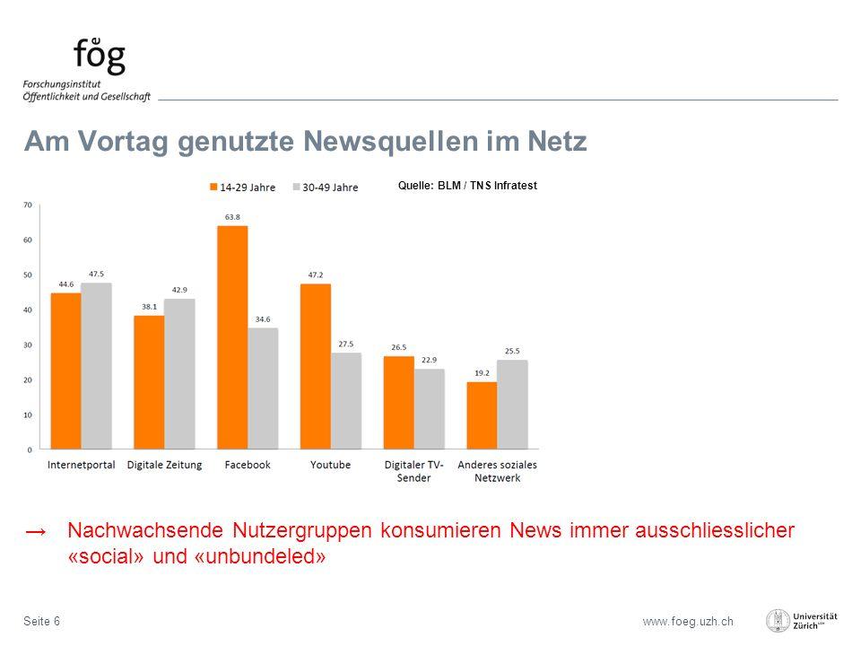 www.foeg.uzh.ch Am Vortag genutzte Newsquellen im Netz Seite 6 →Nachwachsende Nutzergruppen konsumieren News immer ausschliesslicher «social» und «unbundeled» Quelle: BLM / TNS Infratest
