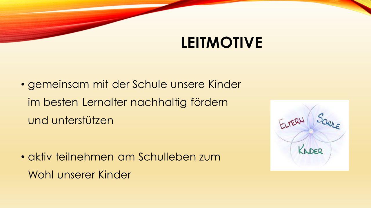 LEITMOTIVE gemeinsam mit der Schule unsere Kinder im besten Lernalter nachhaltig fördern und unterstützen aktiv teilnehmen am Schulleben zum Wohl unserer Kinder