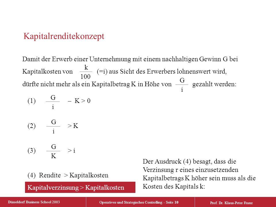 Düsseldorf Business School 2003 Operatives und Strategisches Controlling - Seite 10 Prof. Dr. Klaus-Peter Franz Kapitalrenditekonzept Damit der Erwerb