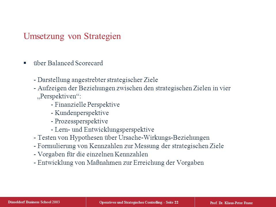 Düsseldorf Business School 2003 Operatives und Strategisches Controlling - Seite 22 Prof. Dr. Klaus-Peter Franz Umsetzung von Strategien  über Balanc