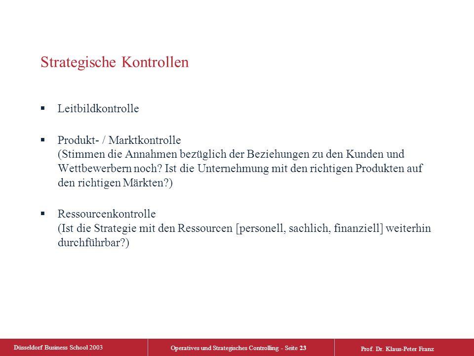 Düsseldorf Business School 2003 Operatives und Strategisches Controlling - Seite 23 Prof. Dr. Klaus-Peter Franz Strategische Kontrollen  Leitbildkont