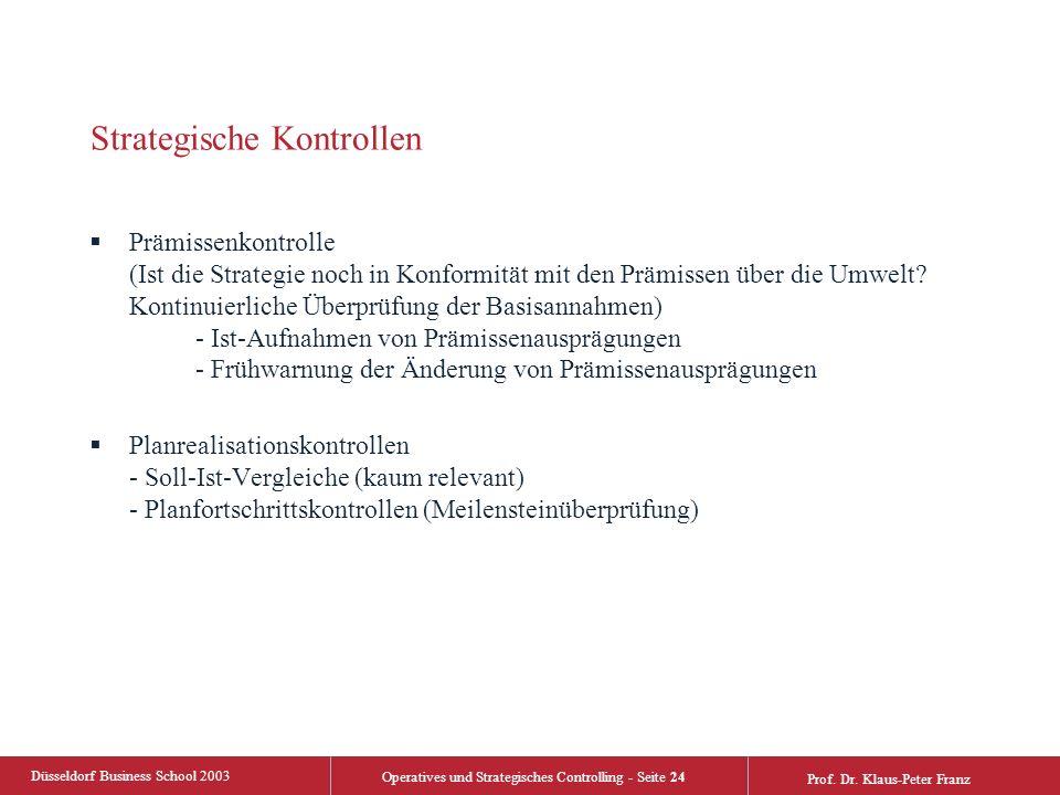 Düsseldorf Business School 2003 Operatives und Strategisches Controlling - Seite 24 Prof. Dr. Klaus-Peter Franz Strategische Kontrollen  Prämissenkon