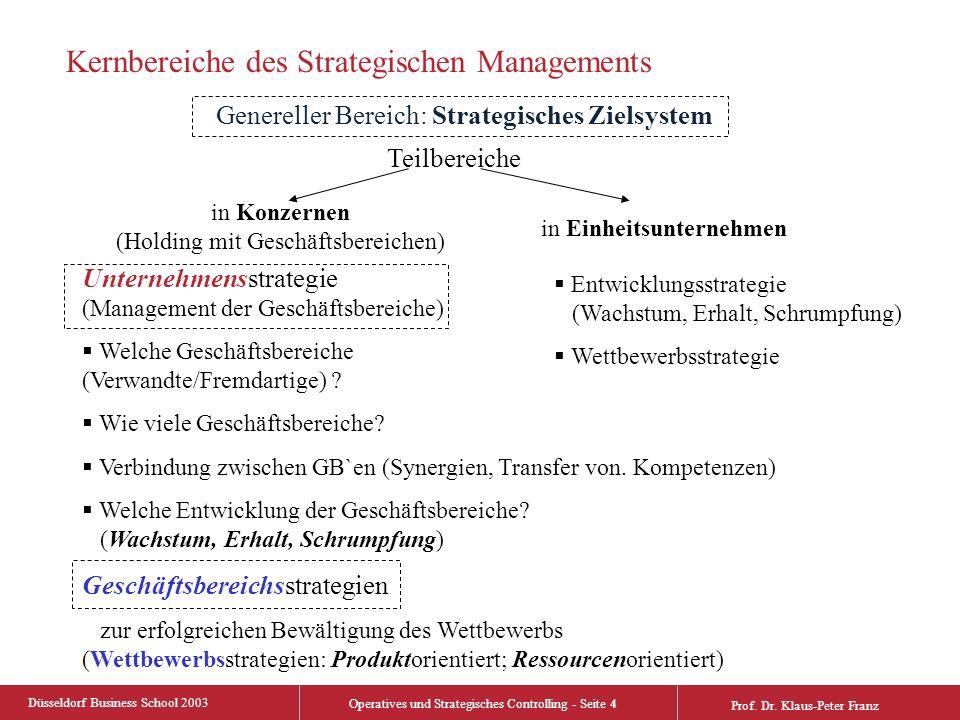 Düsseldorf Business School 2003 Operatives und Strategisches Controlling - Seite 4 Prof. Dr. Klaus-Peter Franz Kernbereiche des Strategischen Manageme