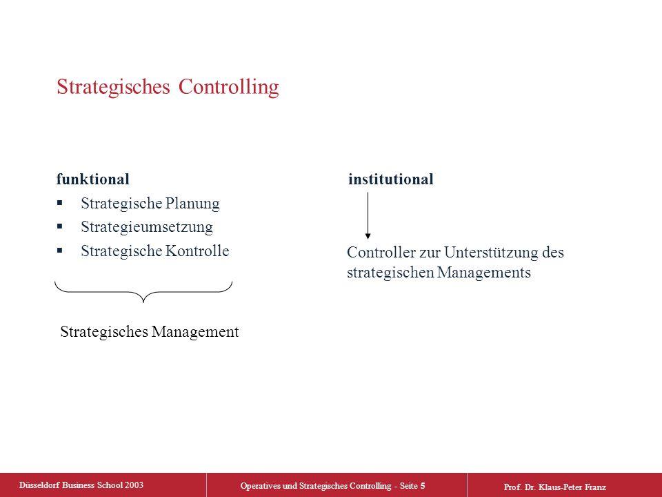 Düsseldorf Business School 2003 Operatives und Strategisches Controlling - Seite 5 Prof. Dr. Klaus-Peter Franz Strategisches Controlling funktional 