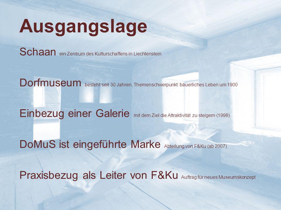 Ausgangslage Schaan ein Zentrum des Kulturschaffens in Liechtenstein Dorfmuseum besteht seit 30 Jahren, Themenschwerpunkt: bäuerliches Leben um 1900 Einbezug einer Galerie mit dem Ziel die Attraktivität zu steigern (1998) DoMuS ist eingeführte Marke Abteilung von F&Ku (ab 2007) Praxisbezug als Leiter von F&Ku Auftrag für neues Museumskonzept