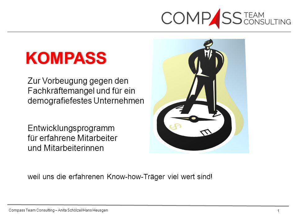 Compass Team Consulting – Anita Schölzel/Hans Heusgen 1 Entwicklungsprogramm für erfahrene Mitarbeiter und Mitarbeiterinnen weil uns die erfahrenen Know-how-Träger viel wert sind.