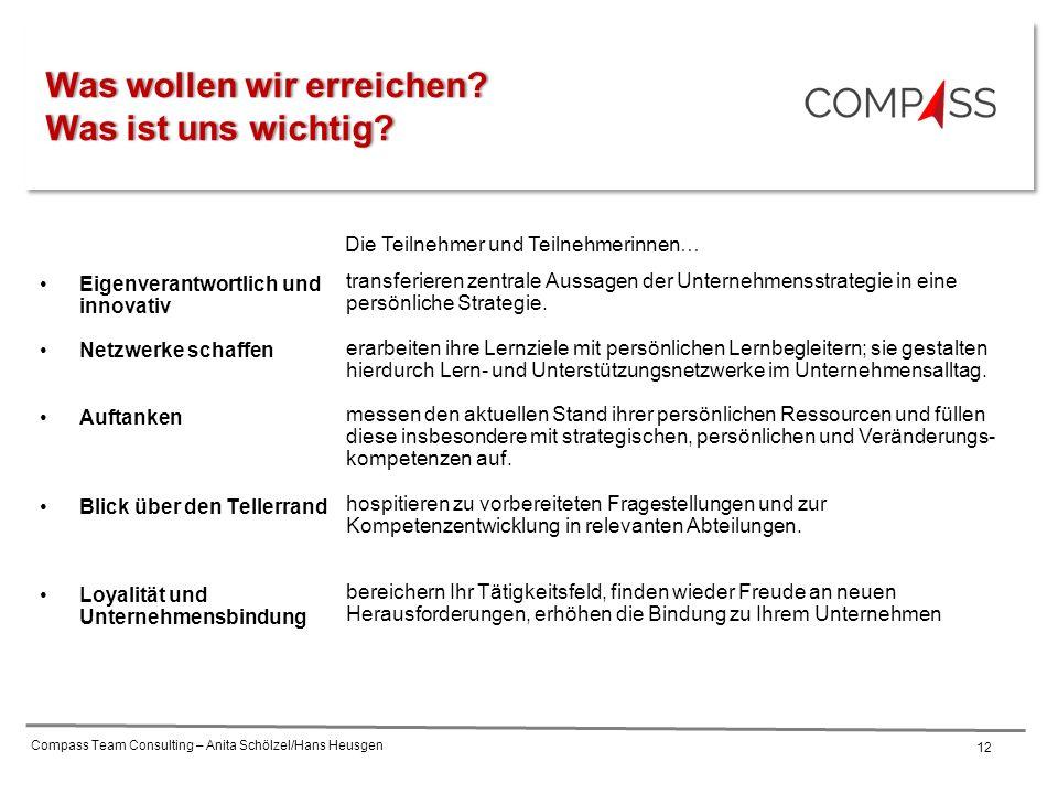 Compass Team Consulting – Anita Schölzel/Hans Heusgen 12 Eigenverantwortlich und innovativ Netzwerke schaffen Auftanken Blick über den Tellerrand Loyalität und Unternehmensbindung transferieren zentrale Aussagen der Unternehmensstrategie in eine persönliche Strategie.
