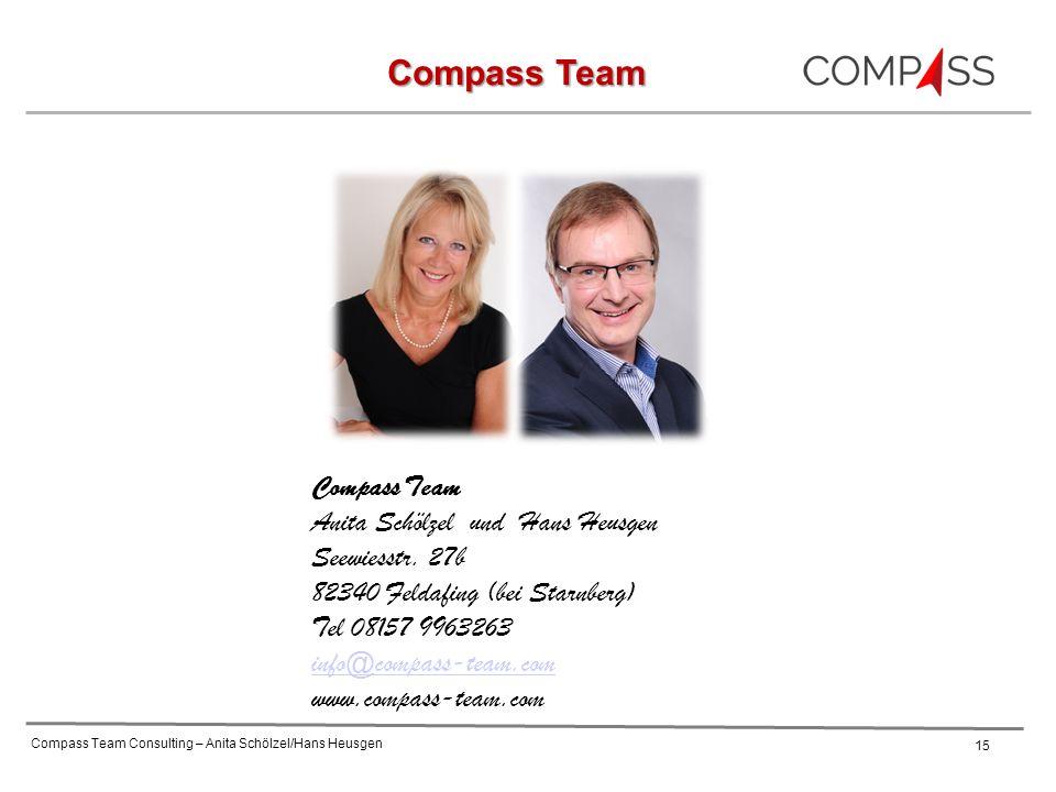Compass Team Consulting – Anita Schölzel/Hans Heusgen 15 Compass Team Anita Schölzel und Hans Heusgen Seewiesstr. 27b 82340 Feldafing (bei Starnberg)
