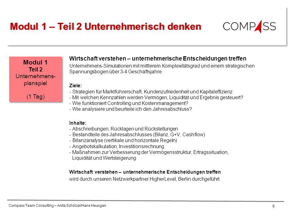 Compass Team Consulting – Anita Schölzel/Hans Heusgen 6 Wirtschaft verstehen – unternehmerische Entscheidungen treffen Unternehmens-Simulationen mit mittlerem Komplexitätsgrad und einem strategischen Spannungsbogen über 3-4 Geschäftsjahre.