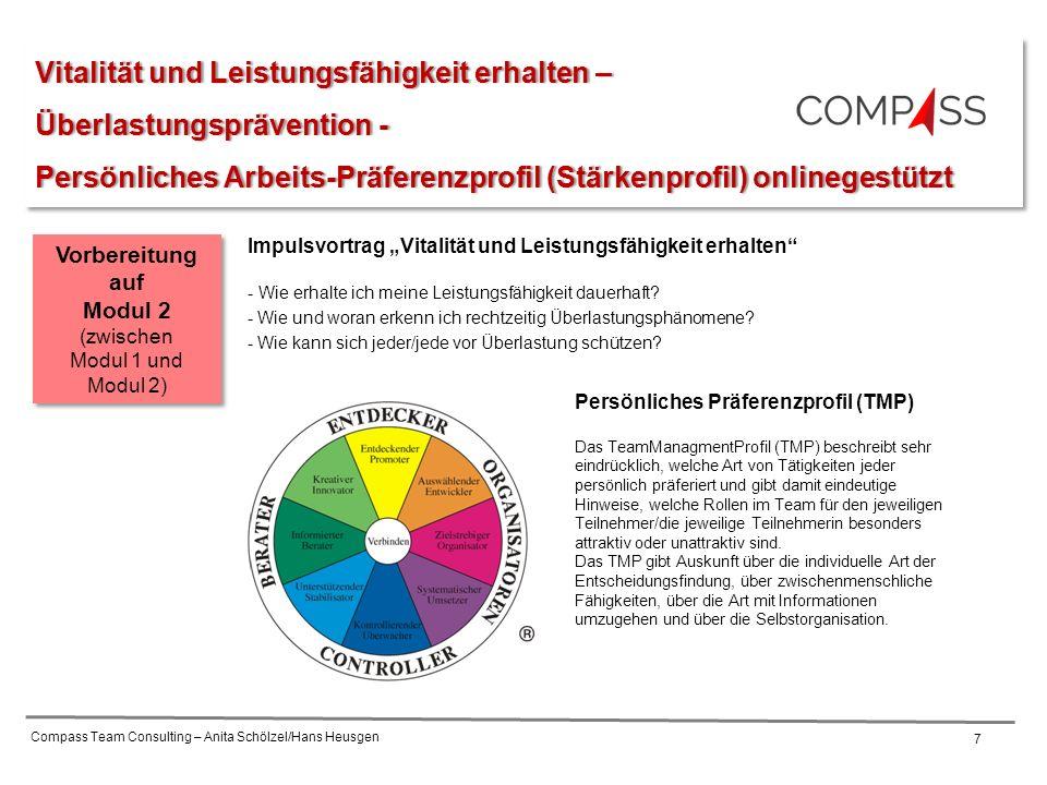 Compass Team Consulting – Anita Schölzel/Hans Heusgen 7 Vitalität und Leistungsfähigkeit erhalten –Vitalität und Leistungsfähigkeit erhalten – Überlas
