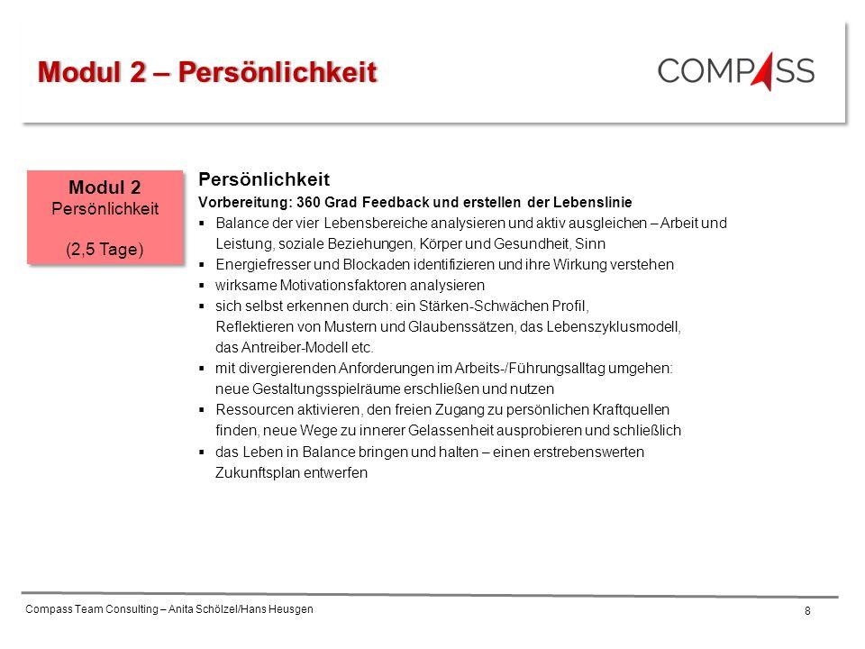 Compass Team Consulting – Anita Schölzel/Hans Heusgen 8 Persönlichkeit Vorbereitung: 360 Grad Feedback und erstellen der Lebenslinie  Balance der vie