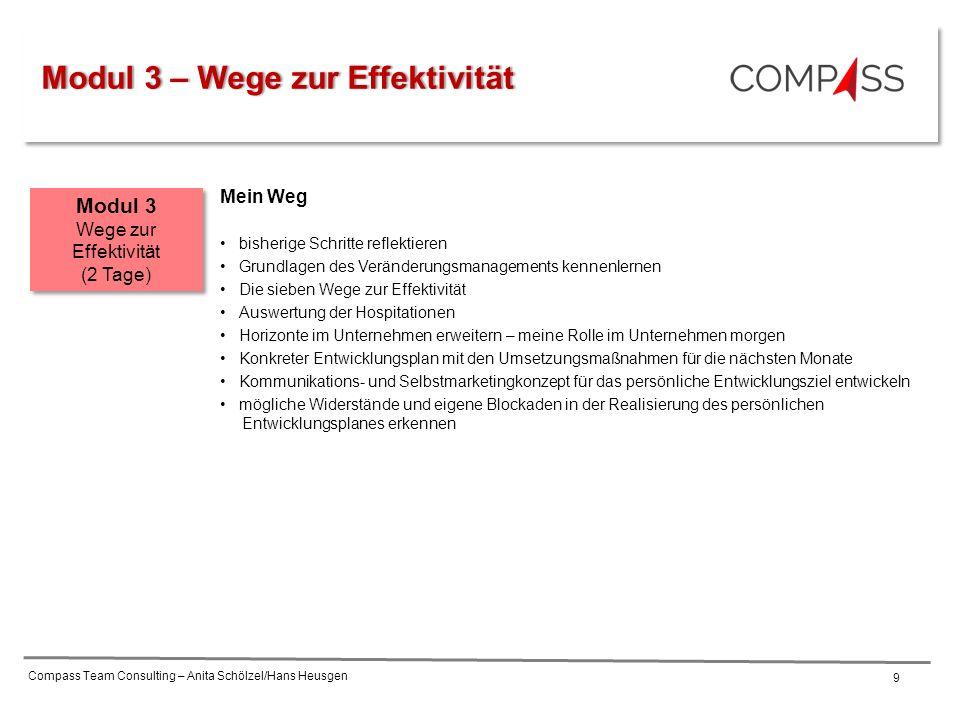 Compass Team Consulting – Anita Schölzel/Hans Heusgen 9 Mein Weg bisherige Schritte reflektieren Grundlagen des Veränderungsmanagements kennenlernen D