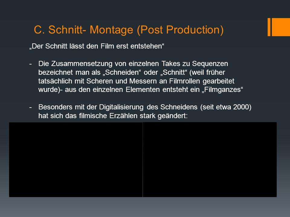 """C. Schnitt- Montage (Post Production) """"Der Schnitt lässt den Film erst entstehen"""" -Die Zusammensetzung von einzelnen Takes zu Sequenzen bezeichnet man"""