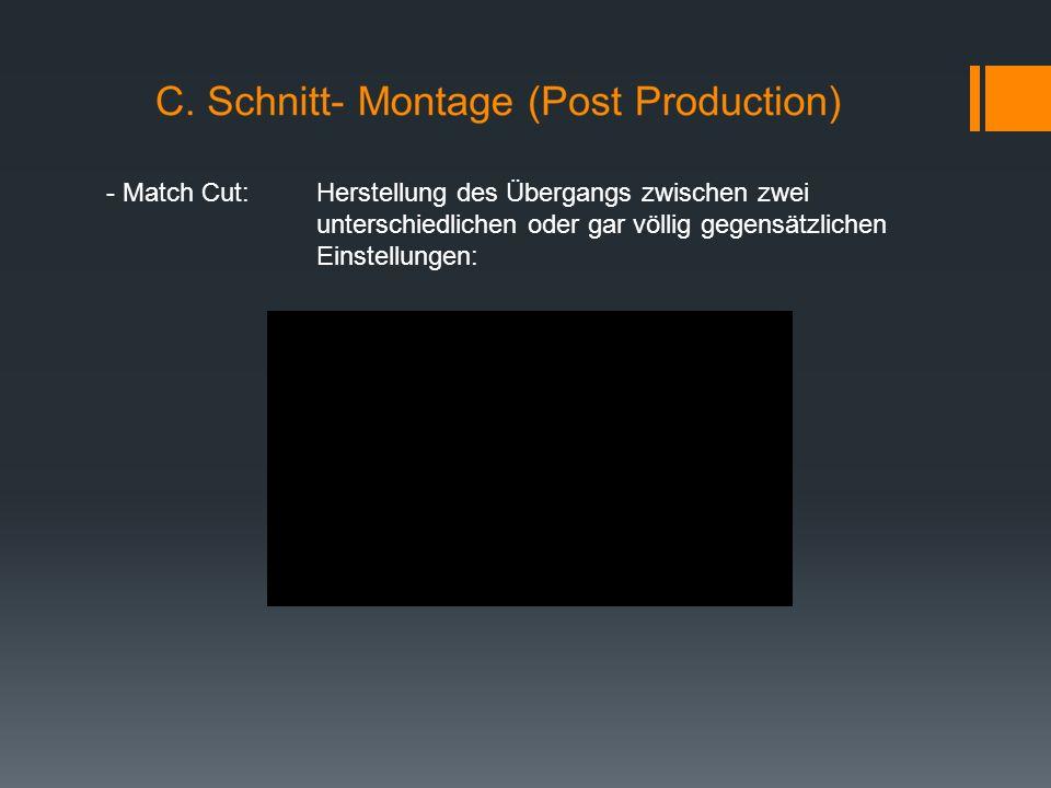 - Match Cut: Herstellung des Übergangs zwischen zwei unterschiedlichen oder gar völlig gegensätzlichen Einstellungen: