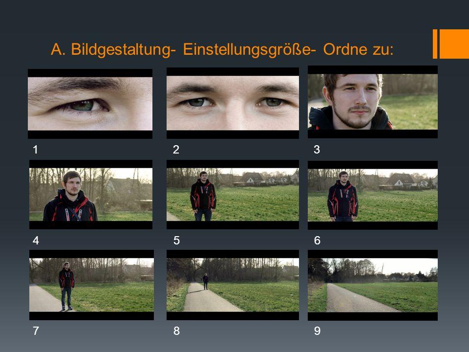 A. Bildgestaltung- Einstellungsgröße- Einsatz im Film