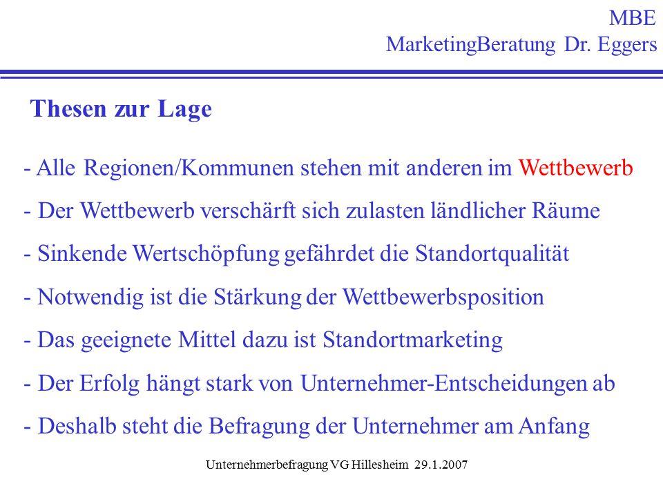 Unternehmerbefragung VG Hillesheim 29.1.2007 Frage 25: Unterstützung für das Standortmarketing n =178 Mitarbeit im Arbeitskreis 14 % Beisteuern von Daten 11 % Mitarbeit in Werbegemeinschaft 13 % weiß ich noch nicht 44 % !.