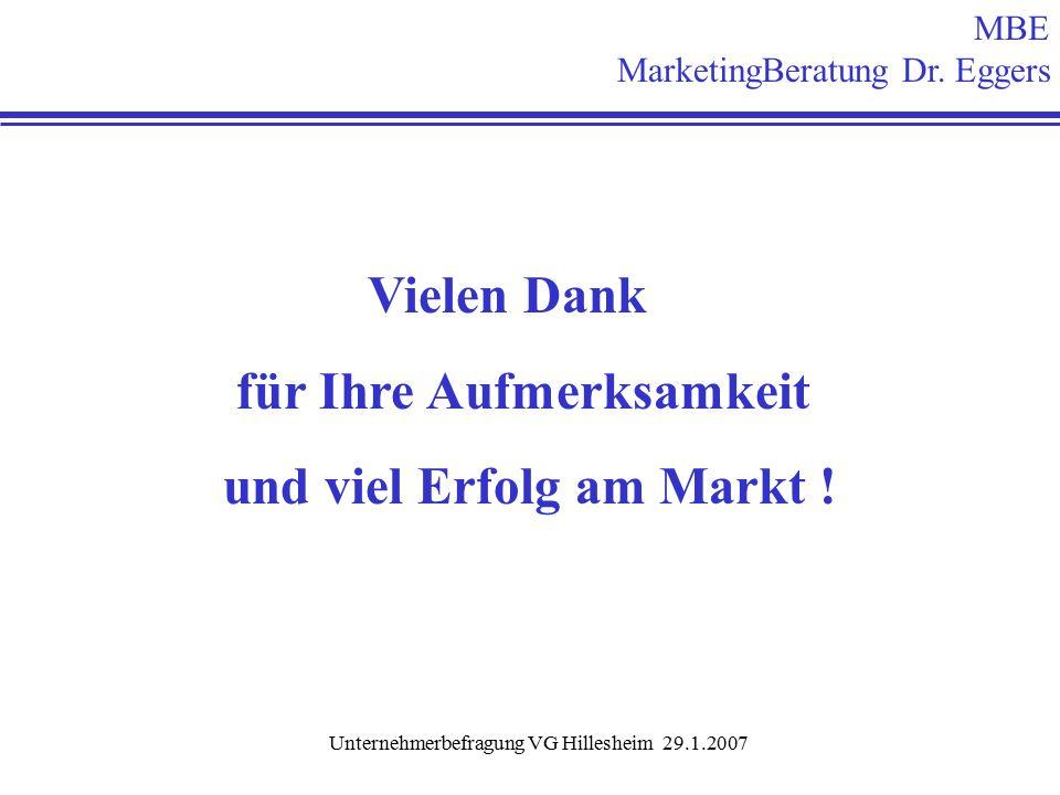 Unternehmerbefragung VG Hillesheim 29.1.2007 Vielen Dank für Ihre Aufmerksamkeit und viel Erfolg am Markt .