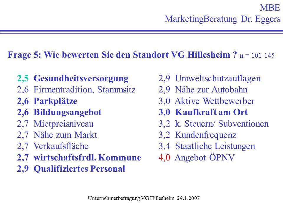 Unternehmerbefragung VG Hillesheim 29.1.2007 Frage 5: Wie bewerten Sie den Standort VG Hillesheim .