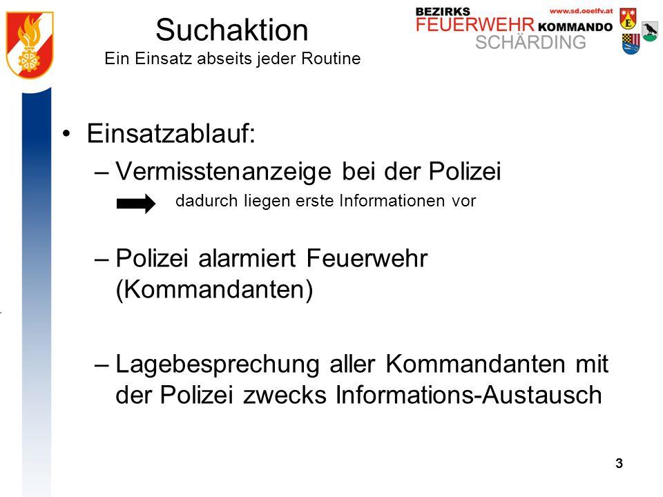 3 Suchaktion Ein Einsatz abseits jeder Routine 3 Einsatzablauf: –Vermisstenanzeige bei der Polizei dadurch liegen erste Informationen vor –Polizei ala