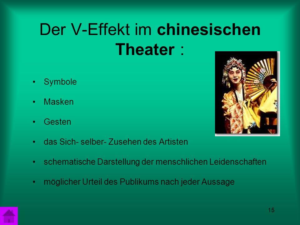 15 Der V-Effekt im chinesischen Theater : Symbole Masken Gesten das Sich- selber- Zusehen des Artisten schematische Darstellung der menschlichen Leidenschaften möglicher Urteil des Publikums nach jeder Aussage