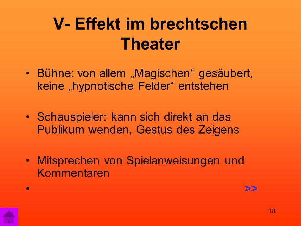 """18 V- Effekt im brechtschen Theater Bühne: von allem """"Magischen gesäubert, keine """"hypnotische Felder entstehen Schauspieler: kann sich direkt an das Publikum wenden, Gestus des Zeigens Mitsprechen von Spielanweisungen und Kommentaren >>"""