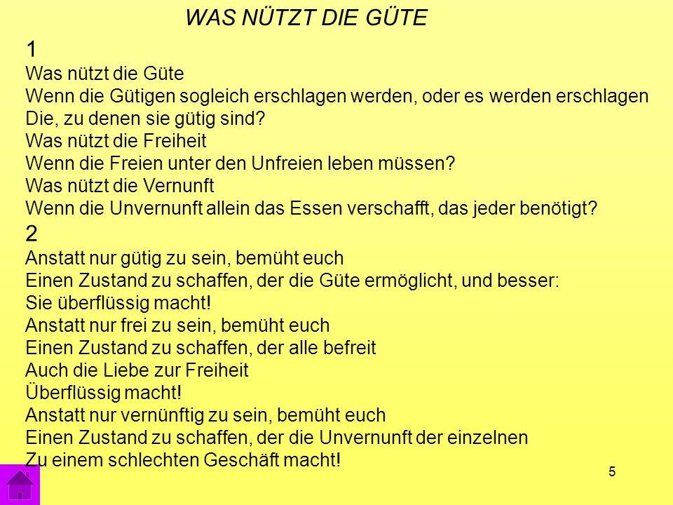16 Der V-Effekt in Deutschland: Schauspieler Musik (Chöre, Songs) Dekoration (Zeigetafeln; Film) Vorgang historischem Charakter