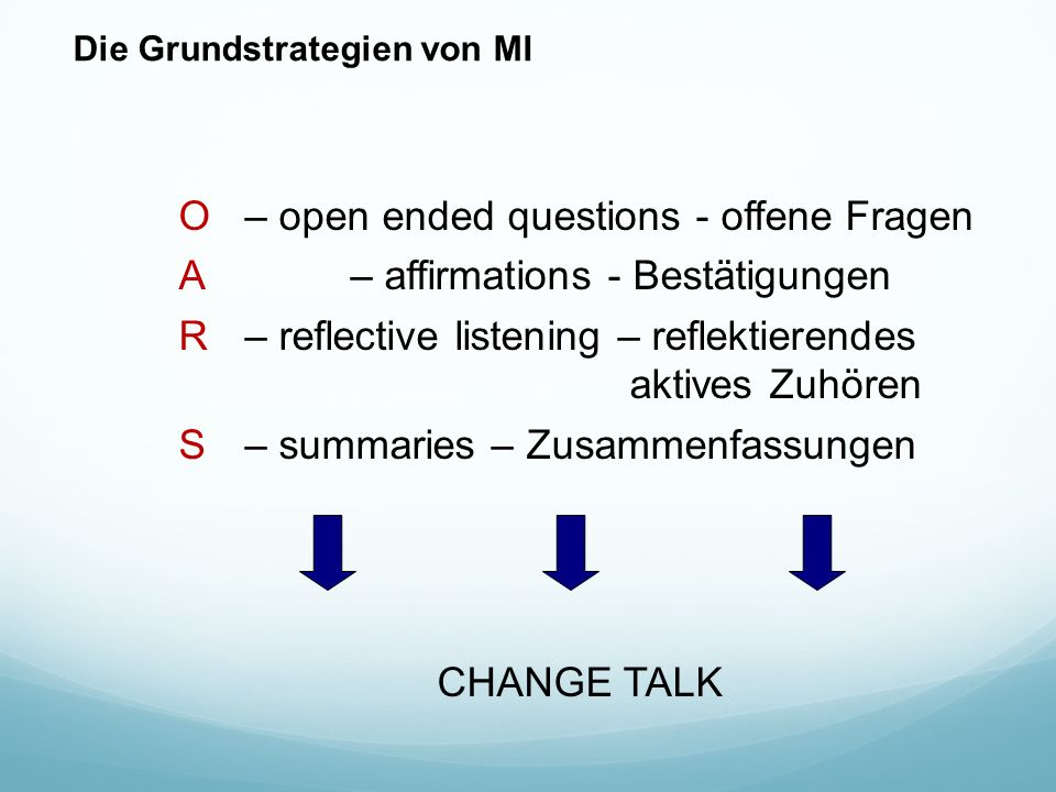 Die Grundstrategien von MI O– open ended questions - offene Fragen A– affirmations - Bestätigungen R – reflective listening – reflektierendes aktives