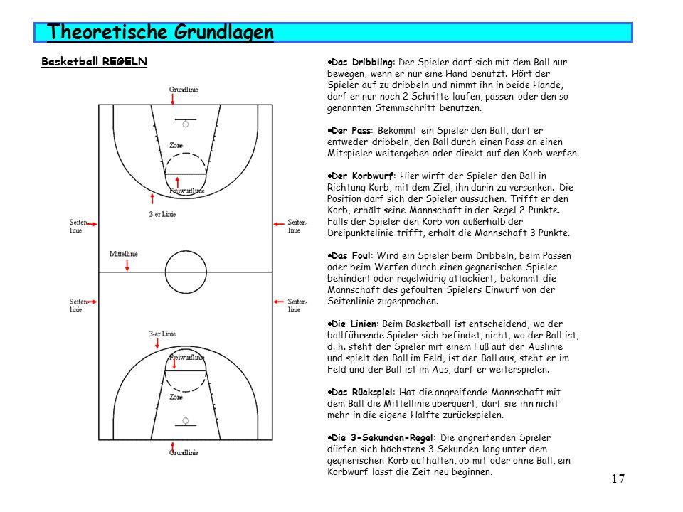 17  Das Dribbling: Der Spieler darf sich mit dem Ball nur bewegen, wenn er nur eine Hand benutzt.