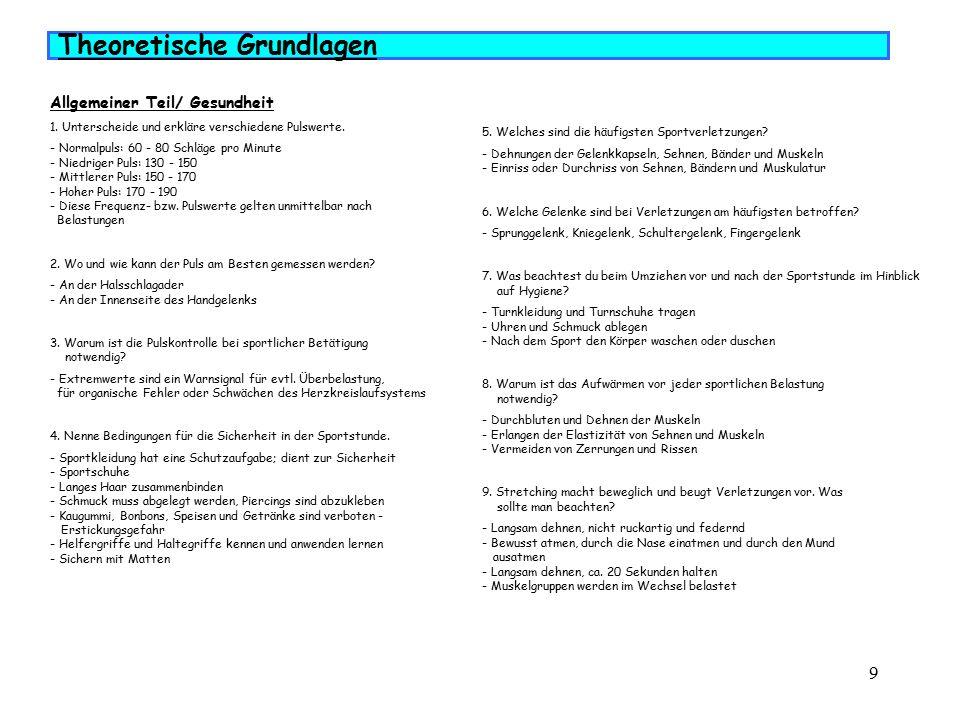 9 Allgemeiner Teil/ Gesundheit 1.Unterscheide und erkläre verschiedene Pulswerte.