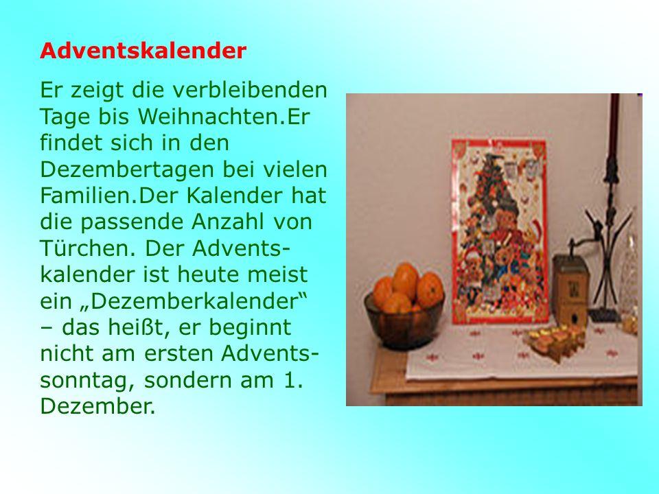 Adventskalender Er zeigt die verbleibenden Tage bis Weihnachten.Er findet sich in den Dezembertagen bei vielen Familien.Der Kalender hat die passende Anzahl von Türchen.