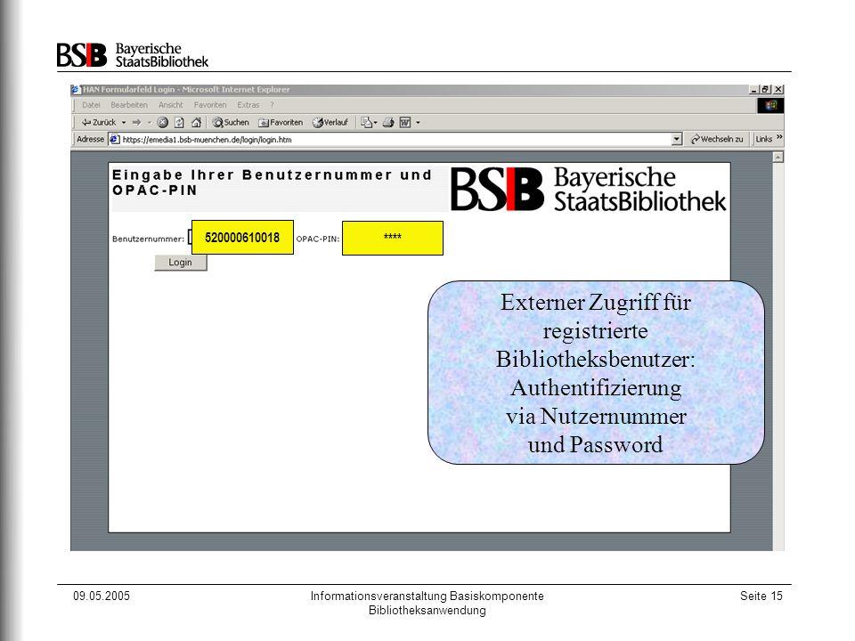 09.05.2005Informationsveranstaltung Basiskomponente Bibliotheksanwendung Seite 15 520000610018 **** Externer Zugriff für registrierte Bibliotheksbenut