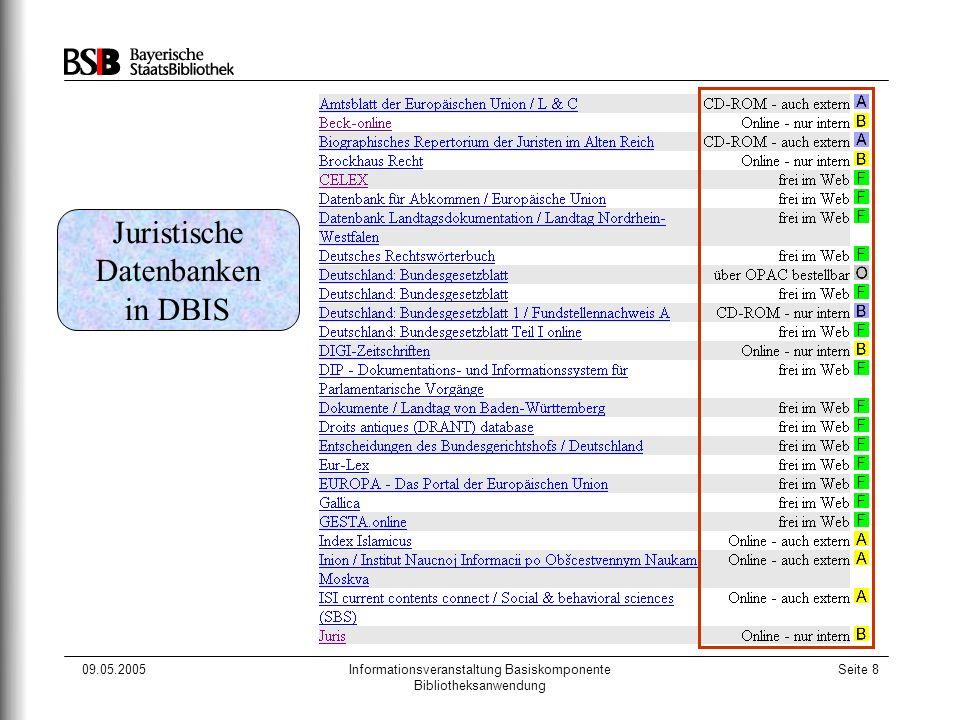 09.05.2005Informationsveranstaltung Basiskomponente Bibliotheksanwendung Seite 8 Juristische Datenbanken in DBIS