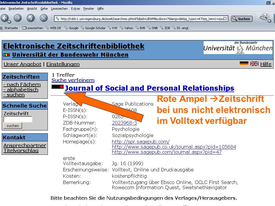 Rote Ampel  Zeitschrift bei uns nicht elektronisch im Volltext verfügbar