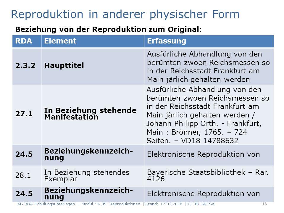 18 RDAElementErfassung 2.3.2Haupttitel Ausfürliche Abhandlung von den berümten zwoen Reichsmessen so in der Reichsstadt Frankfurt am Main järlich geha