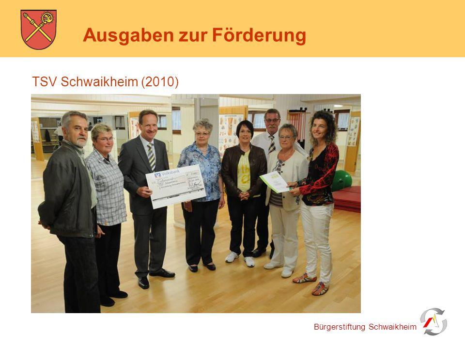 Bürgerstiftung Schwaikheim Ausgaben zur Förderung TSV Schwaikheim (2010)