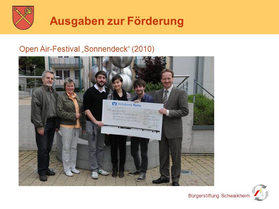 """Bürgerstiftung Schwaikheim Ausgaben zur Förderung Open Air-Festival """"Sonnendeck"""" (2010)"""