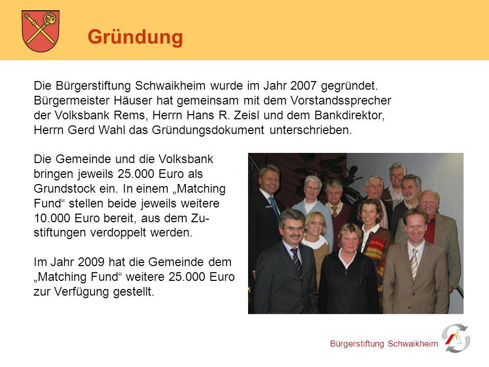 Bürgerstiftung Schwaikheim Gründung Die Bürgerstiftung Schwaikheim wurde im Jahr 2007 gegründet. Bürgermeister Häuser hat gemeinsam mit dem Vorstandss