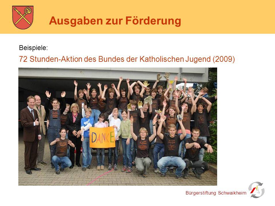 Bürgerstiftung Schwaikheim Ausgaben zur Förderung Beispiele: 72 Stunden-Aktion des Bundes der Katholischen Jugend (2009)