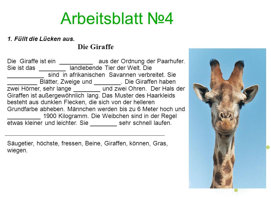 Arbeitsblatt №5 1.Macht ein ungewöhnliches Tier.