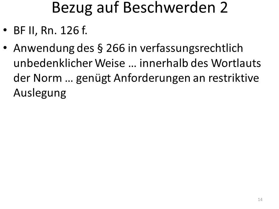 Bezug auf Beschwerden 2 BF II, Rn. 126 f.