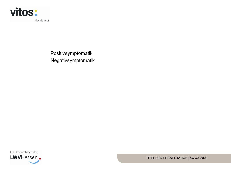 TITEL DER PRÄSENTATION | XX.XX.2009 Positivsymptomatik Negativsymptomatik