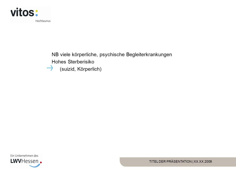 TITEL DER PRÄSENTATION | XX.XX.2009 NB viele körperliche, psychische Begleiterkrankungen Hohes Sterberisiko (suizid, Körperlich)