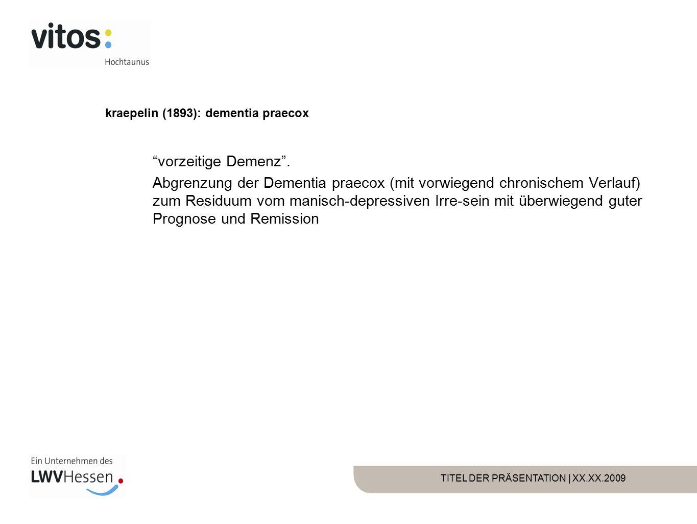 TITEL DER PRÄSENTATION | XX.XX.2009 Bleuler (1911): Schizophrenie Grundsymptome Assoziative Auflockerung des Denkens Affektive Störung Autismus Ambivalenz der Gefühle Akzessorische Symptome Halluzinationen Wahn katatonie
