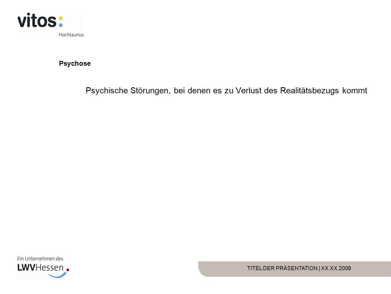 TITEL DER PRÄSENTATION | XX.XX.2009 Psychosen Schizophrene Psychosen Affektive Psychosen Organische Psychosen (zB Delir)